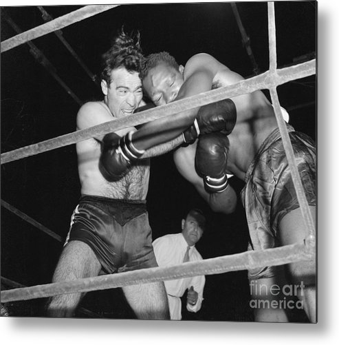 People Metal Print featuring the photograph Marcel Cerdan And Holman Williams Boxing by Bettmann