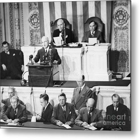 Event Metal Print featuring the photograph President Truman Addressing Congress by Bettmann