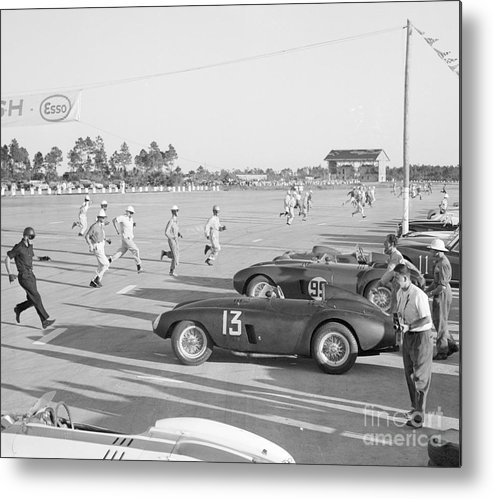 People Metal Print featuring the photograph Racecar Drivers Running To Cars by Bettmann