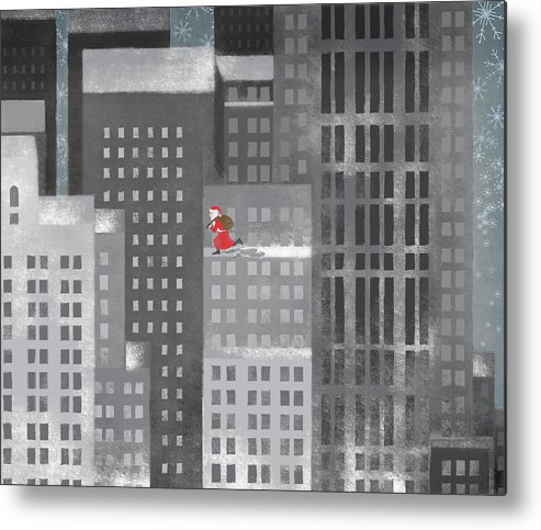 Shadow Metal Print featuring the digital art Santa Clause Running On A Skyscraper by Jutta Kuss