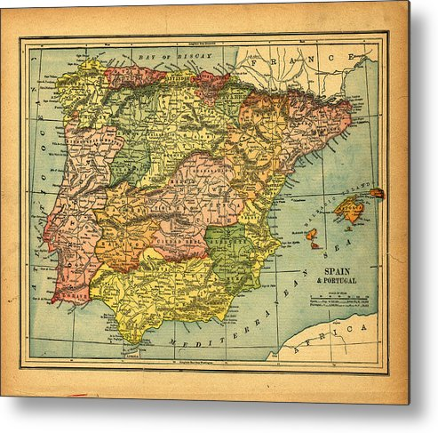 Weathered Metal Print featuring the photograph Spain & Portugal Vintage Map by Belterz