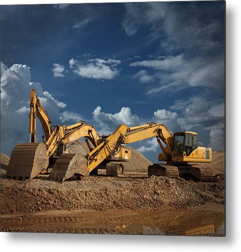 Working Metal Print featuring the photograph Three Excavators At Construction Site by Narvikk