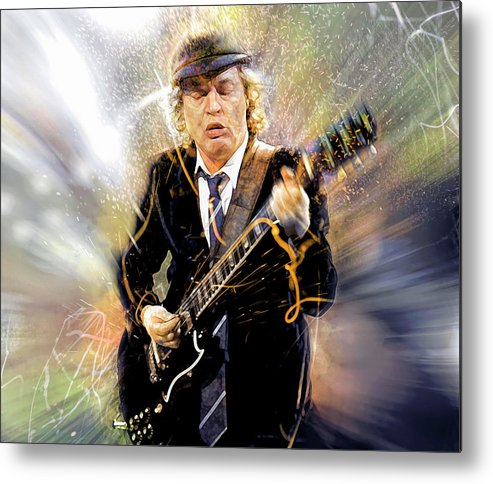Angus Young Metal Print featuring the digital art You've been thunderstruck by Mal Bray