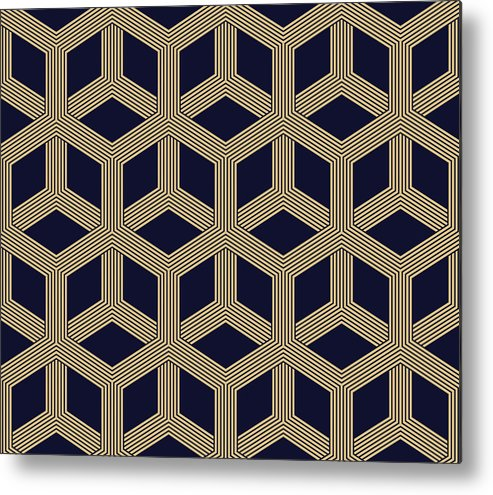Black Color Metal Print featuring the drawing Seamless Geometric Pattern by Lasagnaforone