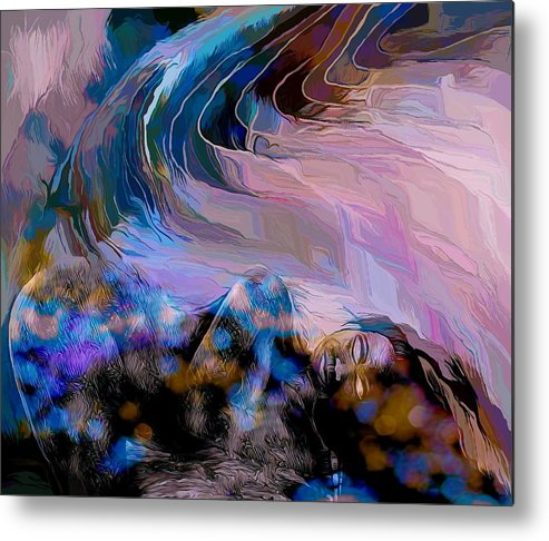 Modern Abstract Art Metal Print featuring the mixed media Abstract Island Girl Slumbering On The Beach by Joan Stratton
