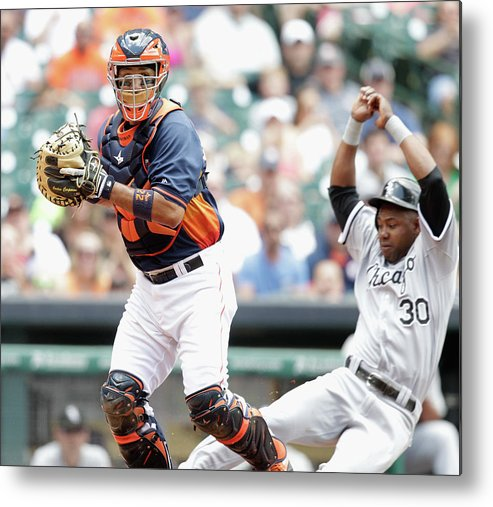 Double Play Metal Print featuring the photograph Alejandro De Aza and Carlos Corporan by Bob Levey