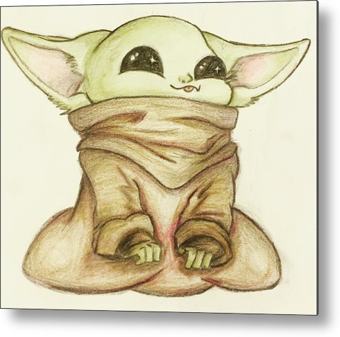 Baby Metal Print featuring the drawing Baby Yoda by Tejay Nichols
