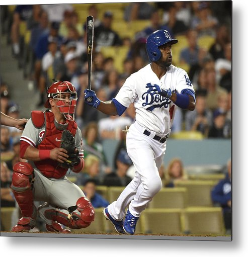 People Metal Print featuring the photograph Carlos Ruiz and Jimmy Rollins by Harry How