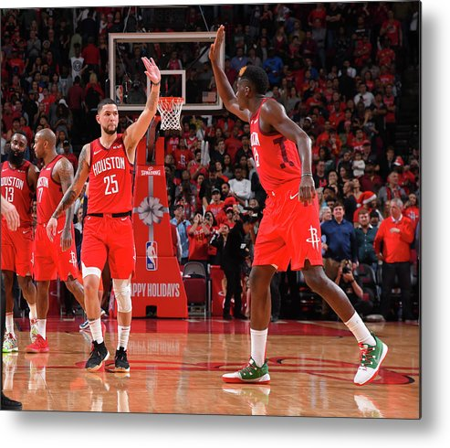Nba Pro Basketball Metal Print featuring the photograph Clint Capela and Austin Rivers by Bill Baptist