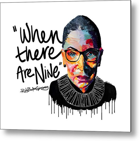 Portrait Metal Print featuring the painting Dissent - When There Are Nine by LA Smith