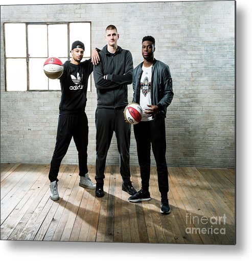 Nba Pro Basketball Metal Print featuring the photograph Emmanuel Mudiay and Jamal Murray by Nathaniel S. Butler