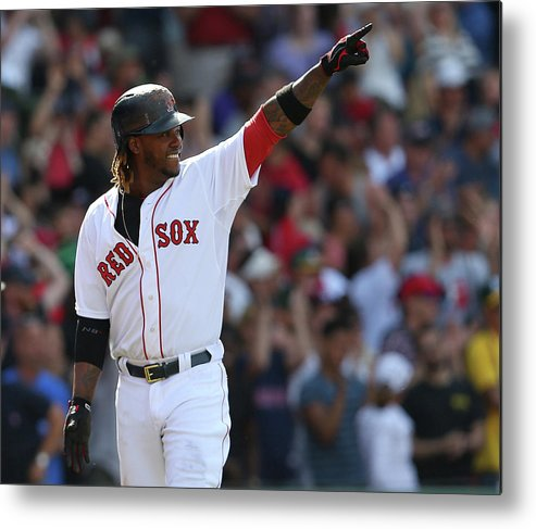 Three Quarter Length Metal Print featuring the photograph Hanley Ramirez by Jim Rogash
