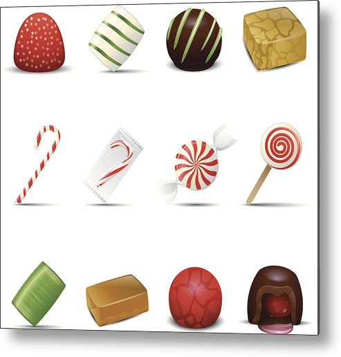 Holiday Metal Print featuring the drawing Holiday Candy Icons by Lumpynoodles