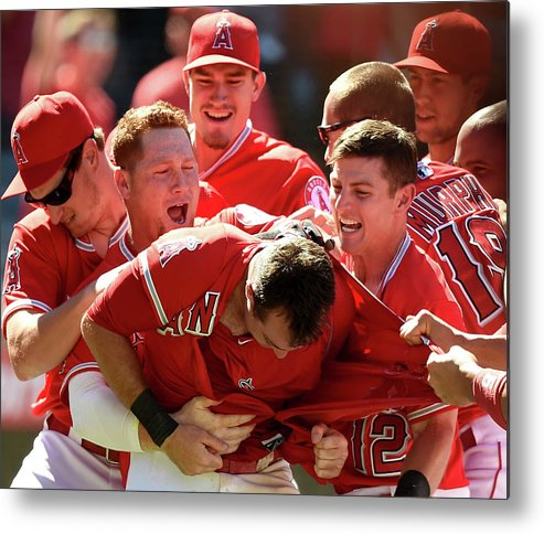 Ninth Inning Metal Print featuring the photograph Johnny Giavotella and Kole Calhoun by Harry How