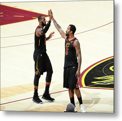 Playoffs Metal Print featuring the photograph J.r. Smith and Lebron James by Nathaniel S. Butler