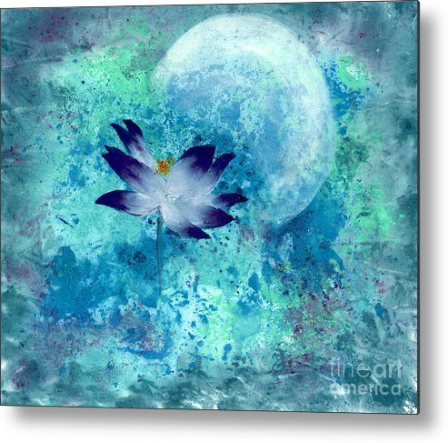 Under The Silver Moon Metal Print featuring the painting Lotus Moon by Mui-Joo Wee