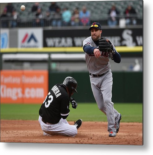 American League Baseball Metal Print featuring the photograph Melky Cabrera and Jason Kipnis by David Banks
