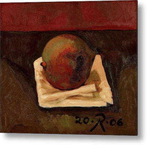 Still-life Red Green Mango Drapery Fruit Metal Print featuring the painting One Fruit by Raimonda Jatkeviciute-Kasparaviciene