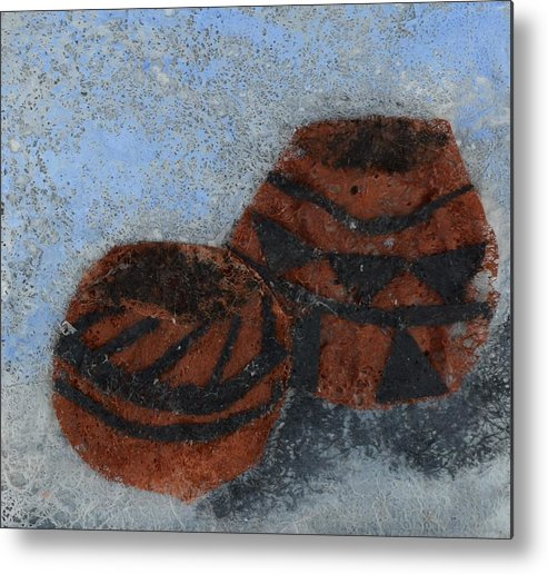 Pottery Metal Print featuring the mixed media Pots by Charla Van Vlack