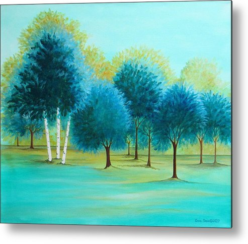 Social Spacing Metal Print featuring the painting Three Birch Trees by Carol Sabo