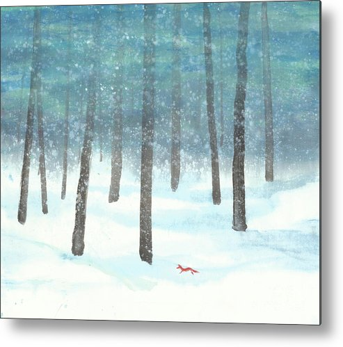 A Red Fox Wanders In A Snowy Forest. A Whisper Of The Great Silence Can Be Heard In The Winter Air. It's A Simple Contemporary Chinese Brush Painting On Rice Paper. Metal Print featuring the painting Whisper of the Forest by Mui-Joo Wee