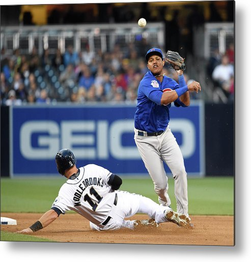 Double Play Metal Print featuring the photograph Will Middlebrooks and Starlin Castro by Denis Poroy