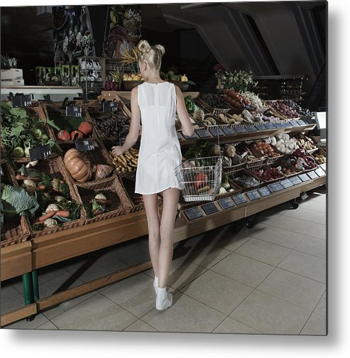 Nightdress Metal Print featuring the photograph Young Woman Shopping Vegetables In Mall by Frank Rothe