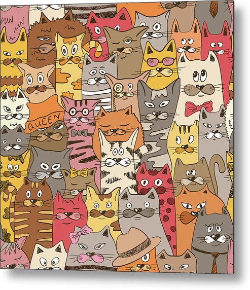 Pets Metal Print featuring the digital art Colorful Seamless Pattern With Funny by Annykos