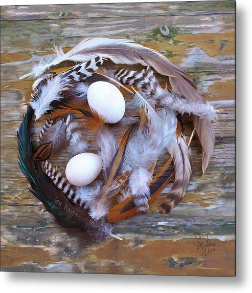 Poultry Metal Print featuring the digital art 1. Feather wreath EXAMPLE by Sigrid Van Dort