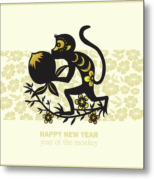 Chinese Culture Metal Print featuring the digital art Happy New Year, Year Of The Monkey 2016 by Ly86