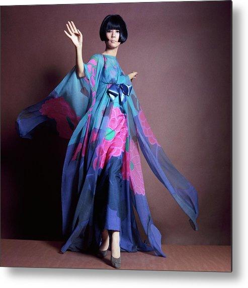 Studio Shot Metal Print featuring the photograph Hiroko Matsumoto Wearing Print Dress by Horst P. Horst