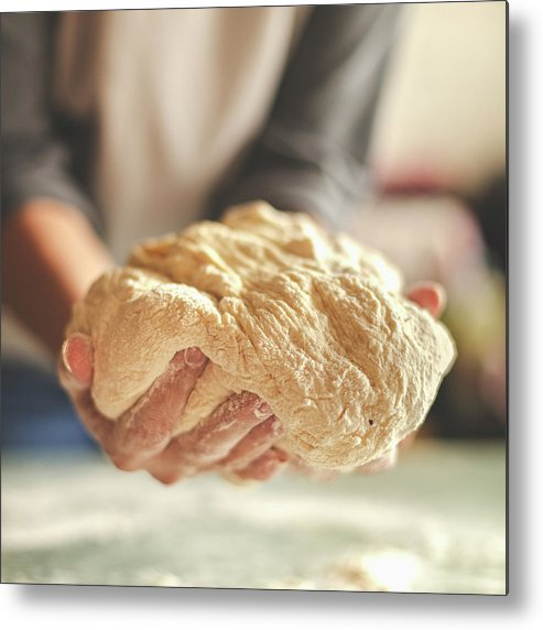 Kneading Metal Print featuring the photograph Making Yeast Dough by Nimis69