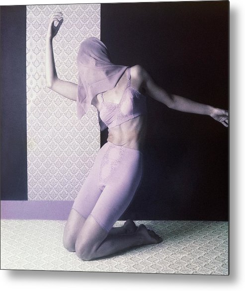 Studio Shot Metal Print featuring the photograph Model In Underwear With Scarf Over Face by Horst P. Horst