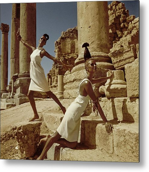 Fashion Metal Print featuring the photograph Models At Nymphaeum by Henry Clarke