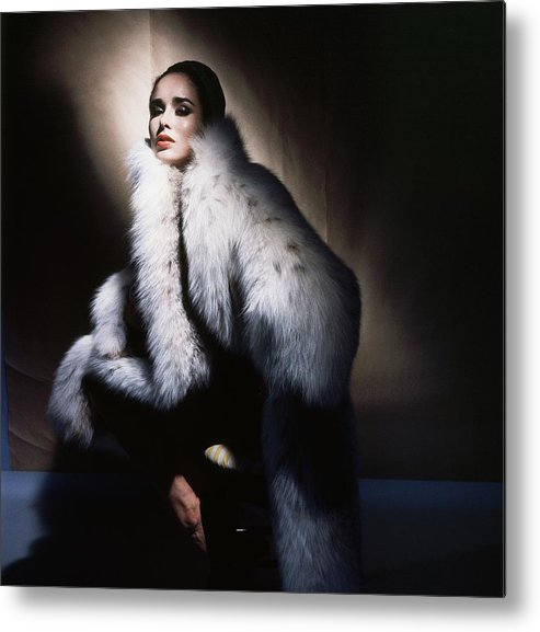 Studio Shot Metal Print featuring the photograph Sondra Peterson Wearing White Fur Coat by Horst P. Horst