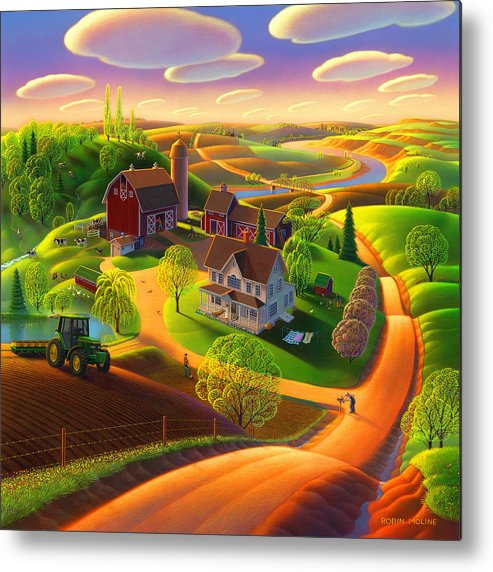 Spring Scene Metal Print featuring the painting Spring on the Farm by Robin Moline