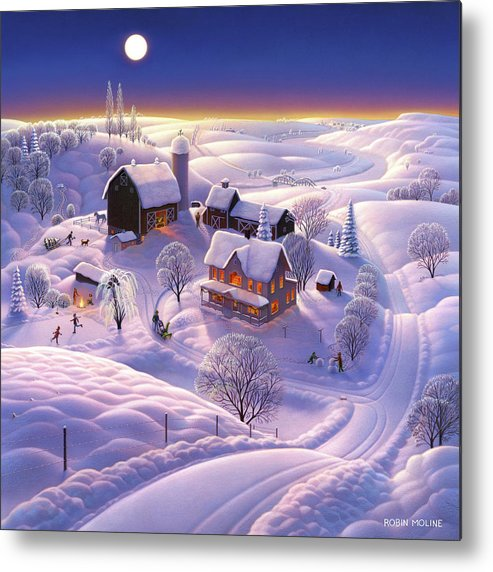 Winter Metal Print featuring the painting Winter on the Farm by Robin Moline