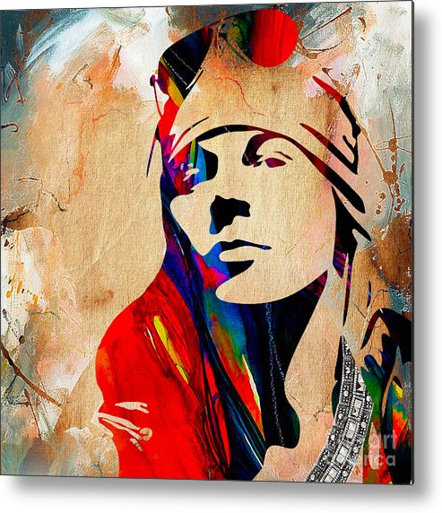Axl Rose Metal Print featuring the mixed media Axl Roxe Collection by Marvin Blaine
