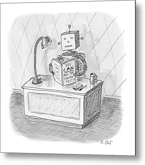 Robot Metal Print featuring the drawing New Yorker March 6th, 2017 by Roz Chast