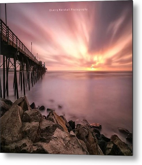 Metal Print featuring the photograph Long Exposure Sunset At The Oceanside by Larry Marshall