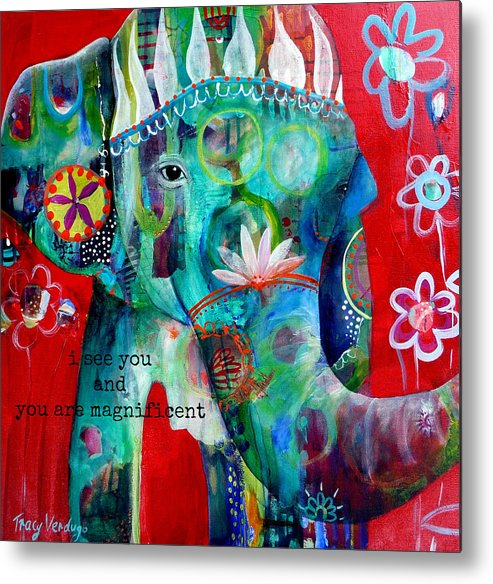 Elephant Metal Print featuring the photograph I see you by Tracy Verdugo
