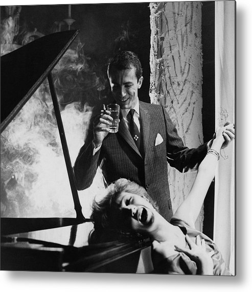 Fashion Metal Print featuring the photograph A Man And Woman By A Piano by Emme Gene Hall