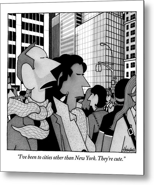 New York City Metal Print featuring the drawing A Man Speaks To His Wife In The Midst Of New York by William Haefeli