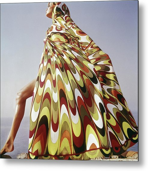 Exterior Metal Print featuring the photograph A Model Posing In A Colorful Cover-up by Henry Clarke