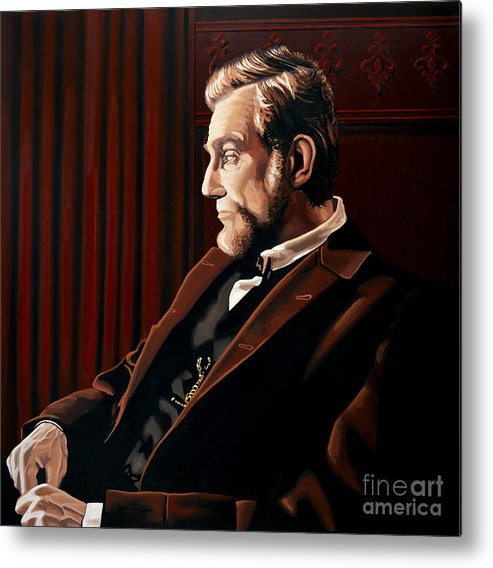 Abraham Lincoln Metal Print featuring the painting Abraham Lincoln by Daniel Day-Lewis by Paul Meijering