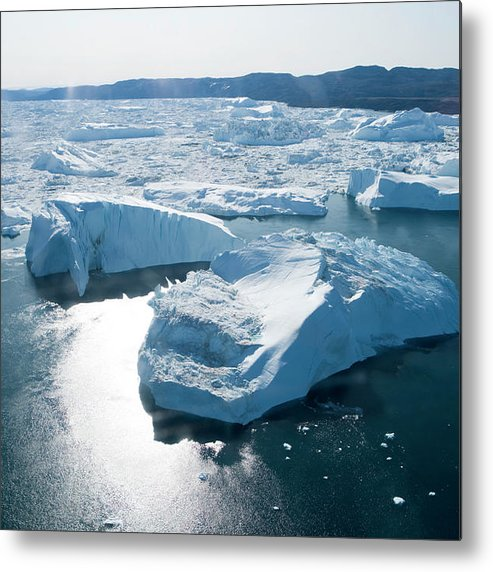 Melting Metal Print featuring the photograph Aerial Of Icebergs Of Ilulissat by Holger Leue