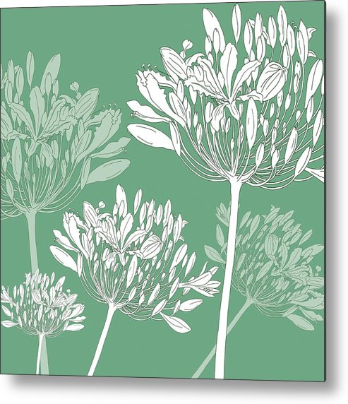 Agapanthus Metal Print featuring the painting Agapanthus breeze by Sarah Hough