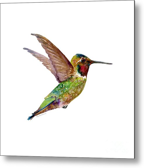 Bird Metal Print featuring the painting Anna Hummingbird by Amy Kirkpatrick