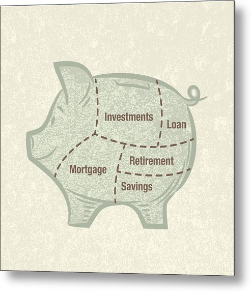 Pig Metal Print featuring the digital art Asset Allocation Piggy Bank by Diane Labombarbe