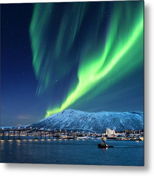 Scenics Metal Print featuring the photograph Aurora Borealis Over Tromso Port by Mike Hill